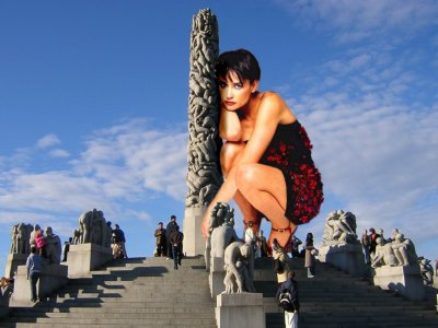 big art of Demi Moore(Vigeland Park Oslo]